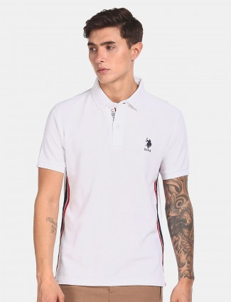 US POLO white solid cotton t-shirt