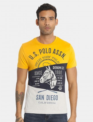 US POLO yellow t-shirt in cotton
