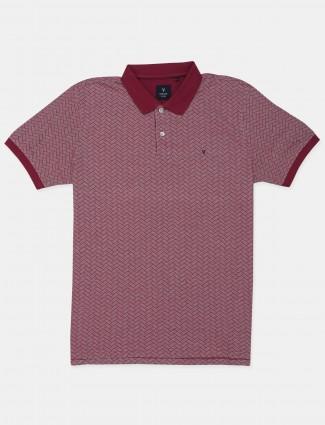 Van Hausen maroon shade printed t-shirt