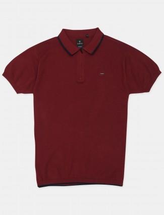 Van Hausen maroon shade solid style t-shirt