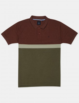 Van Hausen presented solid style maroon and green shade t-shirt