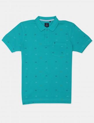 Van Hausen printed style aqua shade mens t-shirt
