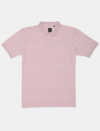 Van Hausen stripe style pink slim-fit casual t-shirt