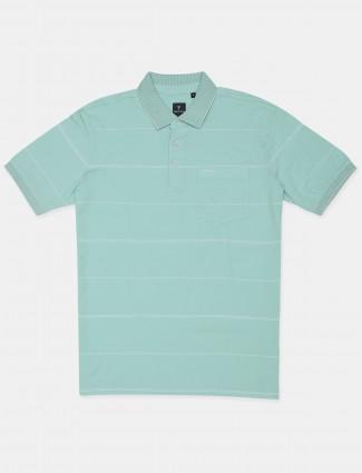 Van Hausen stripe style sea green mens t-shirt in slim fit
