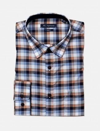 Van Heusen blue checks slim fit shirt