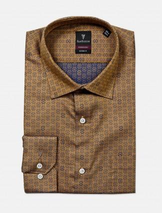 Van Heusen brown textured shirt for mens