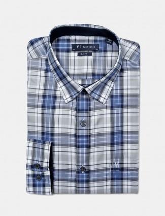 Van Heusen checks pattern blue hue shirt