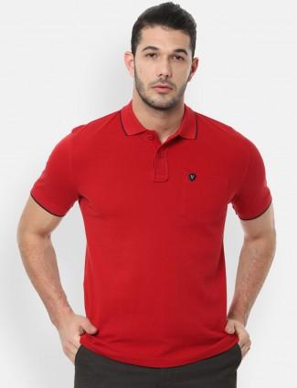 Van Heusen cotton red solid t-shirt