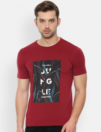Van Heusen maroon cotton printed t-shirt