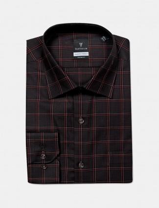 Van Heusen mens dark brown checks pattern shirt