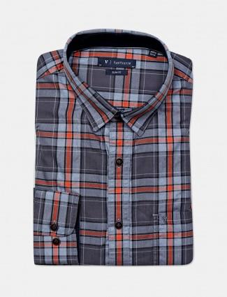 Van Heusen patch pocket grey checks shirt