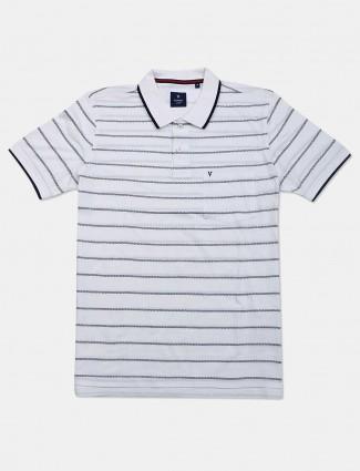 VanHeusen white stripe pattern casual t-shirt