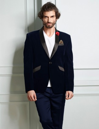 Velvet navy color solid mens blazer