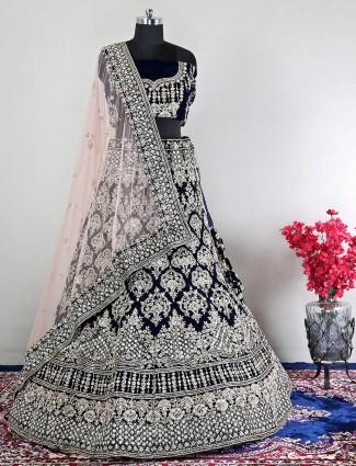 Velvet navy unstitched bridal wear lehenga choli