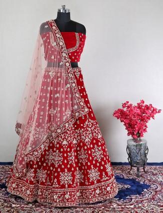 Velvet red unstitched lehenga for wedding