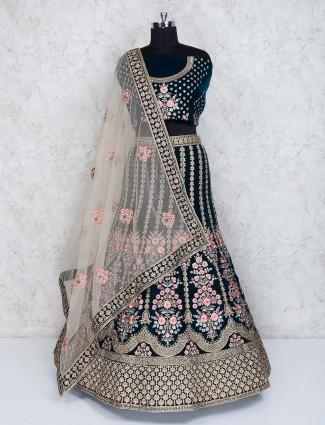 Velvet semi stitched rama green bridal wear lehenga choli