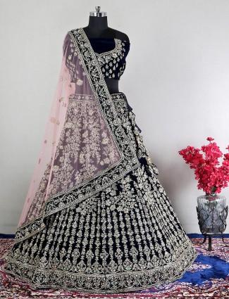 Velvet unstitched navy wedding wear lehenga choli