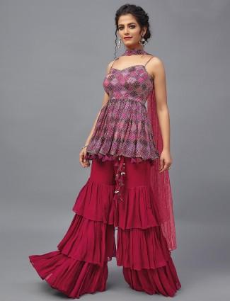 violet and magenta festive wear punjabi sharara suit