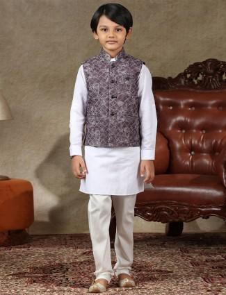 Violet and whiye cotton boys waistcoat set