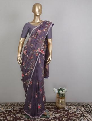 Violet organza wedding special saree for women