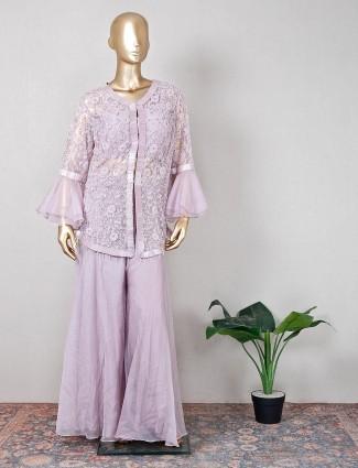 Violet wedding wear palazzo suit