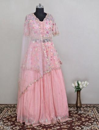 Voguish blush pink hue designer lehenga choli for women