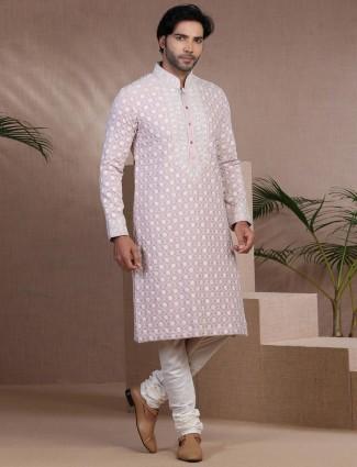 Voilet chikan lucknowi pure cotton silk kurta pajama