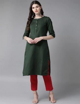 W bottle green solid kurti for day to day look in cotton