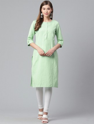 W Casual wear hue kurti in solid beautiful pista green