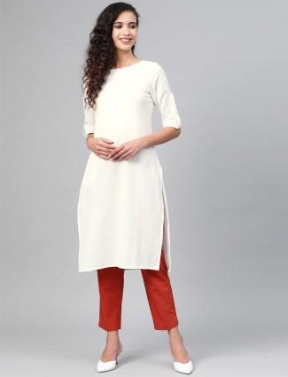 W Casual wear hue kurti in solid beautiful white