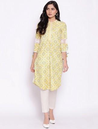 W Casual wear printed kurti in mustard yellow hue