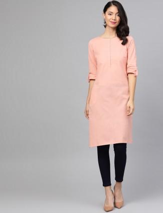 W Casual wear solid kurti for women in peach hue