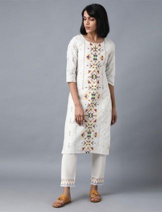 W cotton white printed kurti