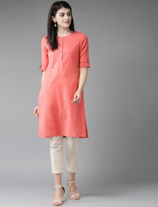 W Designer peach solid cotton casual wear kurti