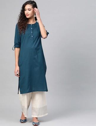 W Latest blue solid cotton casual wear kurti