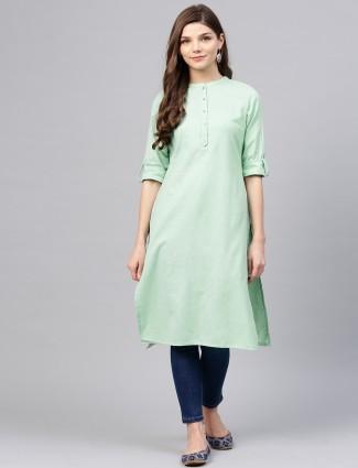 W Mint green color cotton casual wear kurti