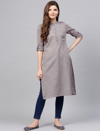 W plain grey colored cotton kurti