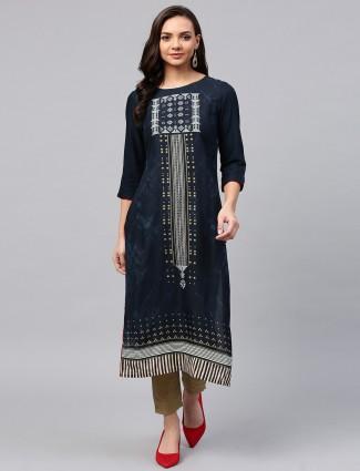 W printed pattern navy long kurti
