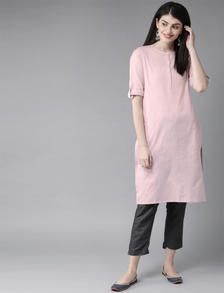 W Stuning baby pink cotton casual occasions solid kurti