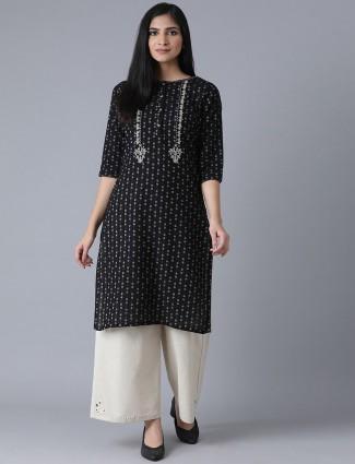 W Stuning casual look black printed kurti in cotton