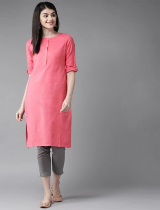 W Stuning coral pink cotton casual occasions solid kurti