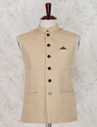 Waistcoat in solid beige terry rayon