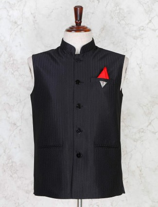 Waistcoat in solid black terry rayon for mens