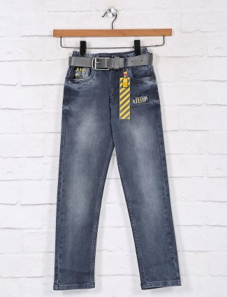 Washed grey slim fit boys jeans