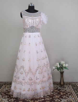 Wedding and party wear pink net gown