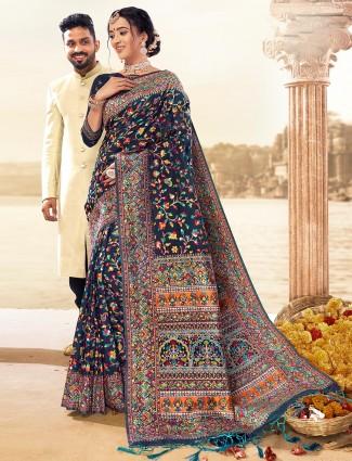 Wedding banarasi silk royal blue saree