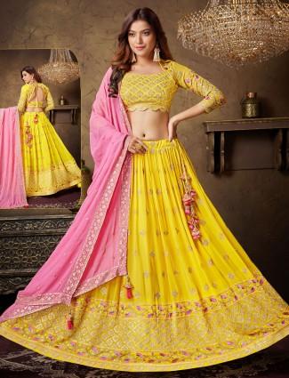 Wedding ceremonies georgette classic yellow and pink lehenga choli