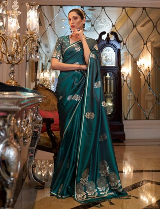 Wedding events bottle green printed color saree in silk