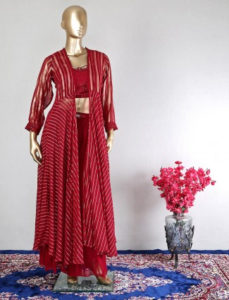 Wedding events maroon georgette palazzo suit