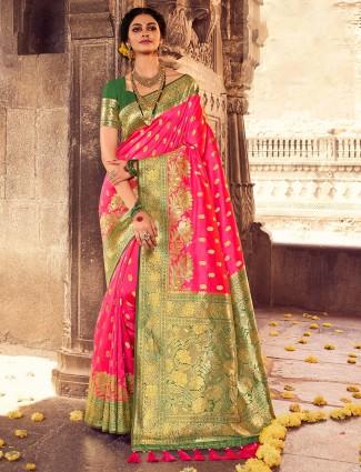 Wedding events pink banarasi silk saree